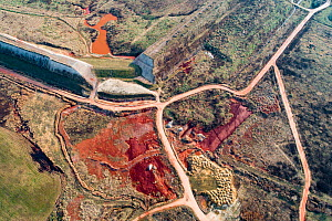 Aerial view 10 years after dams burst near Ajka, Hungary. This released red mud / alumina a highly alkaline waste product produced by the industrial production of aluminium. It destroyed two villages...  -  Milan Radisics