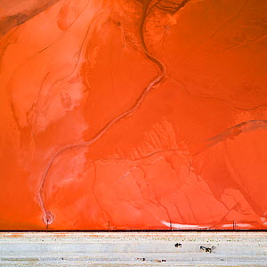 Bulldozers on red mud dam, shoring up the dam to prevent dangerous. leaks  These Red mud deposits in storage pond are a highly alkaline waste product produced by the industrial production of aluminium...  -  Milan Radisics