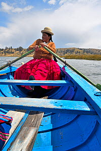 Aymara woman rowing a blue boat, Lake Titicaca, Bolivia. October.  -  Daniel Heuclin
