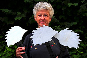 Susy Varndell leader of Dorset Mammal Group Hedgehog Project. Holding ghost hedgehog road signs used to raise awareness of hedgehog road deaths, and to encourage careful driving. Dorset, England, UK....  -  Colin Varndell