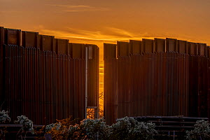 Light shining through the U.S. border wall, Organ Pipe Cactus National Monument, Arizona, USA, March 2020.  -  Wendy Shattil