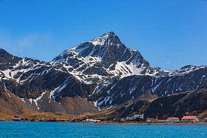 Mountains above abandoned whaling station and British Antarctic Survey Research Base. Grytviken whaling station was the largest on South Georgia. October 2017.  -  Mark MacEwen