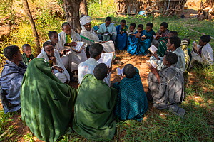 Priests teaching students in forest of Wagira Maryam Orthodox Church. Near Hamusit, Ethiopia. 2018.  -  Bruno D'Amicis