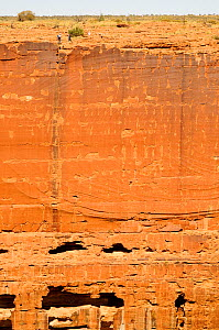 Wall of Kings Canyon, people walking on top. Watarrka National Park, Northern Territory, Australia. 2008.  -  Enrique Lopez-Tapia