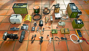 High-speed equipment used by Stephen Dalton, displayed on floor of his Sussex studio. Most of it dating back to 1972. Bookplate with items of equipment numbered.  -  Stephen  Dalton