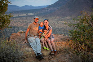 Photographer Will Burrard-Lucas with family in Tsavo West National Park, Kenya, July 2018.  -  Will Burrard-Lucas
