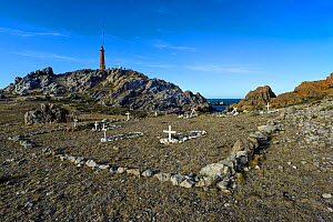 Cemetery for early settlers, Cabo Blanco, White Cape Nature reserve, Santa Cruz province, Patagonia, Argentina  -  Gabriel Rojo