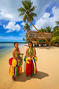 Girls in traditional dress worn for cultural ceremonies on tropical beach, hut and palm trees in background. Yap, Micronesia. 2013. Model released.  -  David Fleetham