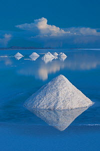 Salt cones on the Salar de Uyuni, Bolivia. The Salar is the world's largest salt flat, at over 10500 square kilometers. Salt is shoveled into these cones, to be collected later.  -  John Shaw