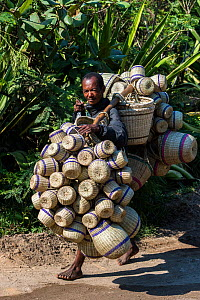 Local man carrying baskets to market, South Madagascar. November 2018.  -  Pete Oxford