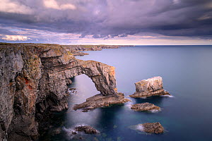 The Green Bridge of Wales sea arch and stack along limestone coastline. Castlemartin, Pembrokeshire, Wales, UK, September 2019.  -  Ross Hoddinott
