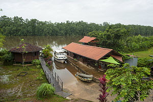 Buildings of the Rour'Attitude ecolodge on Oyak River. Roura, French Guiana. 2015.  -  Pascal Kobeh