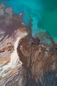 Aerial view of ash pond, nicknamed 'Turquoise Lake' near Konin, Poland. After coal is burned in power plants, the waste ash is mixed with water and pumped through pipelines into sludgy lagoons...  -  Milan Radisics