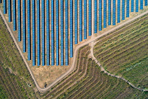 Aerial view of solar panels on top of a coal ash pyramid in East-Central Europe. After coal is burned in power plants, the waste ash is stacked and compacted into large pyramids, which may eventually...  -  Milan Radisics