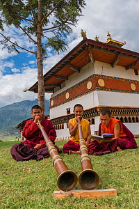 Buddhist monks playing Dungchen trumpet, Chime Lhakhang Temple (The 'fertility temple'). Bhutan. September 2013.  -  Jeff Foott
