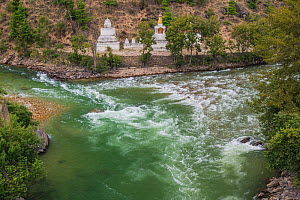Stupas at confluence of two rivers, on the way to Thimphu, Bhutan. September  -  Jeff Foott