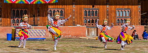 Dance of the lords of creation. Haa Tsechu festival at the 'white chapel'. Cham, or Masked dancers. Bhutan. September 2013.  -  Jeff Foott