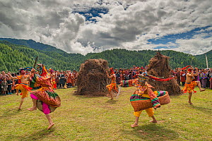 The fire blessing ceremony at Bumthang Jamba Monastery. Bhutan. September 2013.  -  Jeff Foott