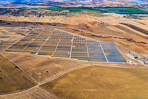 Aerial view of crops and solar panels, near Alange reservoir, Extremadura, Spain. May 2019.  -  Denis-Huot