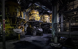 Coal crushing mills at a coal powered power station. These mills are where the coal is crushed prior to combustion in the boiler. PF on the sign stands for pulverised fuel, which is that the coal is c...  -  Doug Gimesy