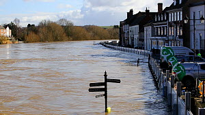 Environment Agency flood defences alongside flooded the River Severn. The river overtopped the barriers after Storm Ciara and Storm Dennis, the wettest February recorded in the UK. Bewdley, Worcesters...  -  Ashley Cooper