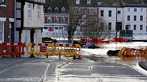 Streets partially submerged underwater due to the River Severn breaking its banks after Storm Ciara and Storm Dennis which caused the wettest February recorded in the UK, 2020.  -  Ashley Cooper