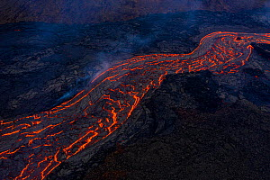 Aerial view of a lava river flowing from the craters of the Fagradalsfjall volcano, Iceland.1 April 2021  -  Theo  Bosboom
