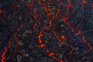 Aerial view of the many lava streams at the eruption site, Fagradalsfjall volcano, Iceland, taken 2 April 2021.  -  Theo  Bosboom