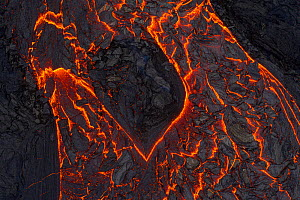 Abstract aerial close up view of the many lava flows, Fagradalsfjall volcano, 2 April 2021.  -  Theo  Bosboom