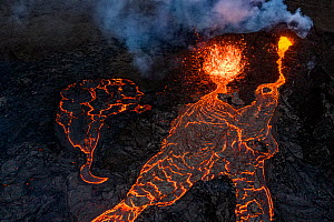Aerial view of the lava streams and the two craters at the eruption site, Fagradalsfjall volcano, Iceland, 2 April 2021  -  Theo  Bosboom