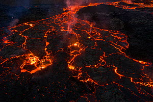 Aerial image of the lava field at the Fagradalsfjall volcano, Iceland, 31 March 2021.  -  Theo  Bosboom