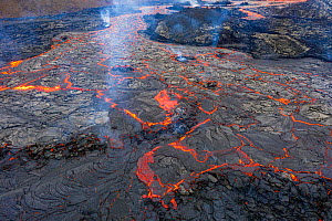 Aerial view of one of the main lava flows at the eruption site of the Fagradalsfjall volcano, Iceland, 1 April 2021  -  Theo  Bosboom