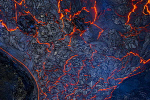 Abstract aerial view of the many lava flows at the eruption site, Fagradalsfjall volcano, Iceland, 2 April 2021  -  Theo  Bosboom