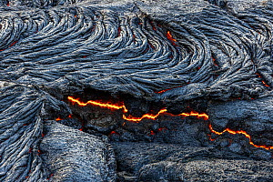 Close-up of solidified lava and fluid lava underneath, taken at the edge of the lava field at the Fagradalsfjall volcano, Iceland, 4 April 2021.  -  Theo  Bosboom