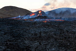 Lava field with the two craters of the Fagradalsfjall volcano, Iceland, 4 April 2021.  -  Theo  Bosboom