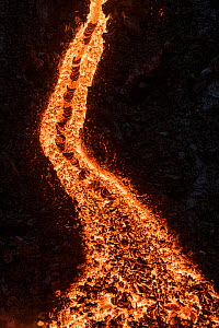 Lava flowing at the edge of the lava field of the Fagradalsfjall volcano, Iceland, 31 March 2021  -  Theo  Bosboom
