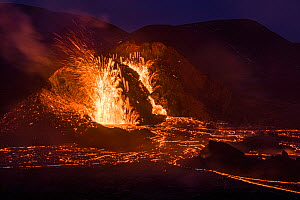 Two craters of the Fagradalsfjall volcano, long exposure around sunset, Iceland, 1 April 2021.  -  Theo  Bosboom