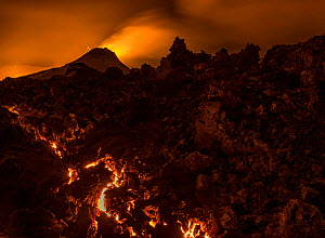 Glowing lava after sunset, Fagradalsfjall volcano, Iceland, 1 April 2021  -  Theo  Bosboom