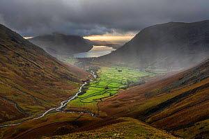 Rain storm over Wasdale Head and Wast Water from Great Gable, Lake District National Park, Cumbria, England, UK. December 2020  -  Guy Edwardes