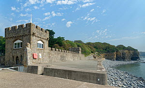 Quayside at Atlantic College Lifeboat Station, St. Donat's Castle, Glamorgan Heritage Coast, South Wales, UK, August 2020.  -  Nick Upton