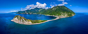 Aerial view of southern tip of Dominica,Scotts Head. It divides Atlantic from Caribbean sea. Dominica, West Indies. October 2020  -  Derek Galon