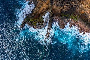 Aerial view of L'Escalier Tete Chien - unusual geological formation called a 'Dyke'. It is a source of myths and legends about snake stairway. Located on Atlantic side, Carib Territory, Do...  -  Derek Galon