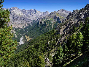 U-shaped valley formed by glacier, Vars, Hautes Alpes, France, August 2020.  -  Pascal  Tordeux