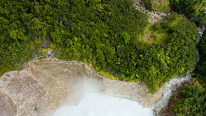 Aerial shot ascending over Boiling Lake, the second largest in the world, Dominica, 2020.  -  Derek Galon