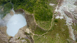 Aerial tilt up shot moving from a view of Boiling Lake to surrounding tropical forest and areas of deforestation, Dominica, West Indies, 2020.  -  Derek Galon