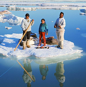 Orfik Duneq, his wife Judithe and daughter Jacobine using an ice floe as a raft to cross a wide lead in early summer. Qaanaaq. NW Greenland. (1971)  -  Bryan and Cherry Alexander