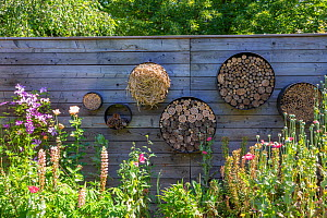 Insect houses at Jardin Cali Canthus, ornamental and decorative garden, open to the public, Alsace, France.  -  Sylvain Cordier