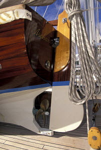 An immaculate tender on the deck of a classic yacht 1998. - Gary John Norman