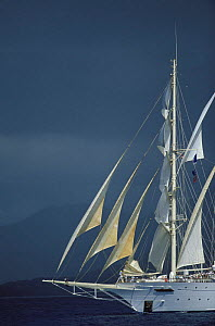 Tall ship and stormy skies in Antigua.  -  Onne van der Wal