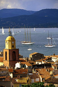 Classic yachts beginning to hoist their sails at the start of a day's racing in La Nioulargue regatta (Les Voiles de Saint-Tropez), St Tropez, France.  -  Onne van der Wal